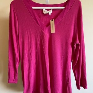 Anthropologie Acacia Ribbed V-neck Top Pink/Rose L